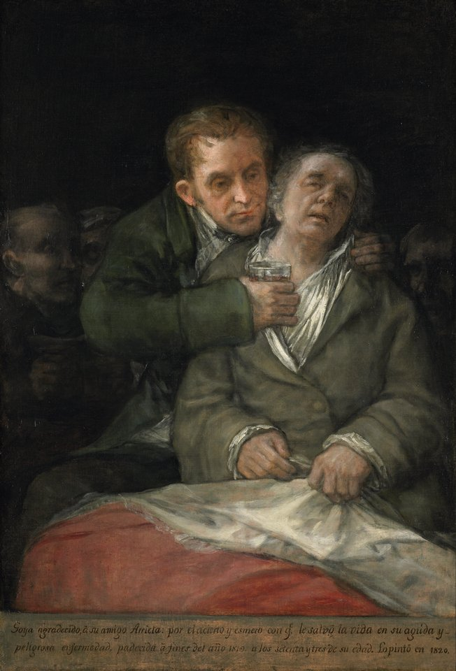 «Goya atendido por Arrieta» de Francisco de Goya - Web Gallery of Art:   Image  Info about artwork. Disponible bajo la licencia Dominio público vía Wikimedia Commons - https://commons.wikimedia.org/wiki/File:Goya_atendido_por_Arrieta.jpg#/media/File:Goya_atendido_por_Arrieta.jpg