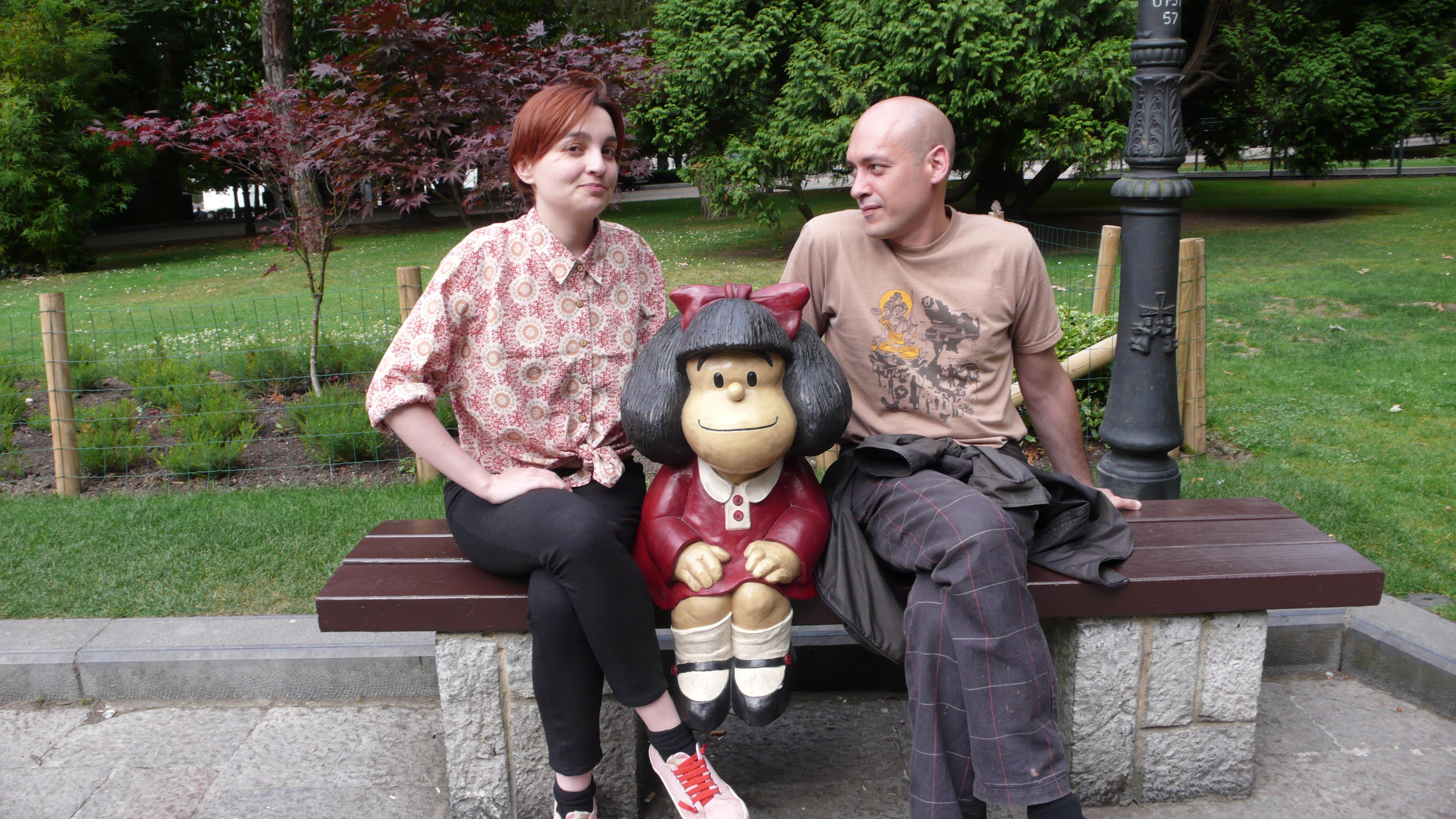 Pablo y yo con Mafalda en el parque de S. Francisco. Oviedo.